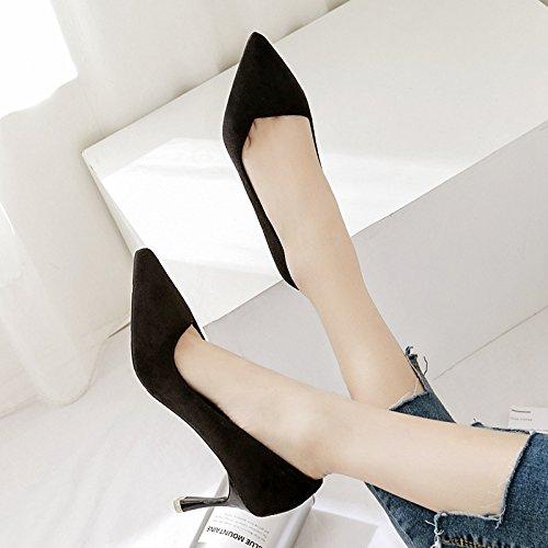 ZHZNVX Die neue Feder und der Sommer mit feinem Satin light Single Schuhe für Frauen Schuhe mit hohen Absätzen schwarze Frauen Schuhe