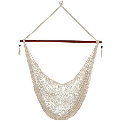 Tropical Chairs - Sunnydaze Hanging Cabo Extra Large Hammock Chair, 47 inch Wide Spreader Bar, Max Weight: 360 pounds, Cream