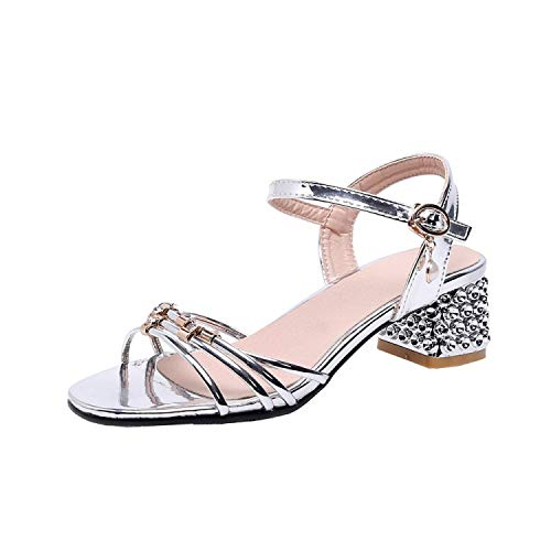 Women's Sandals Summer Crystal Narrow Band Open Toe Buckle Pearl Thick Heel Mid Heel Women's Shoe Plus Size 32 43,2,3