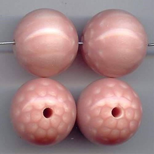 (6 Vintage Pink Lucite 24mm. Round Smooth Illusion Beads HDRY- 642)