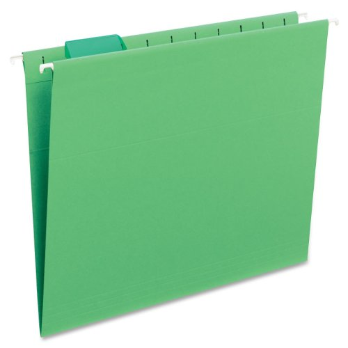 Smead Hanging File Folder with Tab, 1/5-Cut Adjustable Tab, Letter Size, Green, 25 per Box (64061)