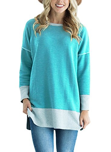 Astylish Women Casual Long Sleeve Color Block Sweatshirt Loose Tunic Tops With Side Slit Turquoise Large Cuff Tunic