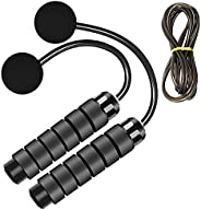 LEKEONE Ropeless Jump Rope,Switchable Dual Mode Ropeless and Corded Jump Rope With Memory Foam Handle Adjustab