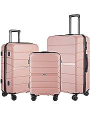 """SURFLINE Hardside - Maletas con ruedas giratorias, equipaje ligero con cerradura TSA gris plateado 3 piezas (28""""/24""""/20""""), Rose gold,"""