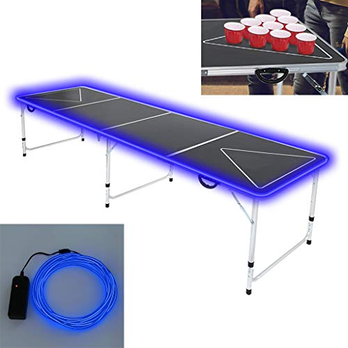 PPgejGEK Portable Beer Pong Table with Cup Holes,LED Lights Outdoor Foldable Beer Table with Carrying Handles,8 Foot Adjustable Height Pong Table for Party Drinking Games Picnics Camping Trips, Black