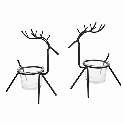 OYATON Reindeer Tea Light Candle Holder, Glass Votive Iron Candle Holders Christmas Decorations, Minimalist Candlestick for Weddings, Parties, Birthday,Holiday & Home Decor, Hostess Gifts, Set of 2(S) ()