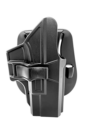 KNTAC Glock 19 19X 23 32 45 Holster (Gen 1-5), Adjustable Tactical Outside Waistband Belt Paddle Holster Fast Draw, Right-Handed, Black
