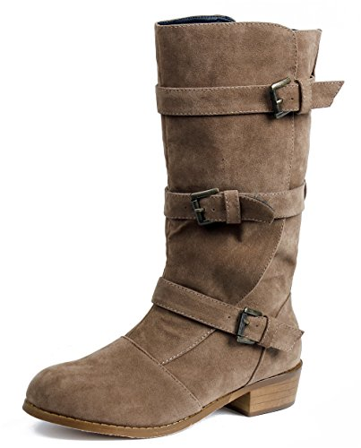Suede Heels Shoes With Buckle Faux Brown AgeeMi Round Toe Boots Low Women's Three 0pxBwq