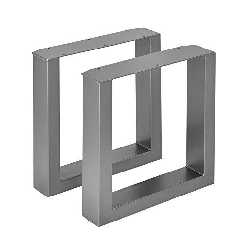[en.casa] 2 x Conjunto de Patas de Mesa Set de 2X Patas de Mesa - Metal Patas de los Muebles 40 x 43 cm para Banco o para Mesa de Centro Armazon de Mesa Proteccion Suelo Gris metalico