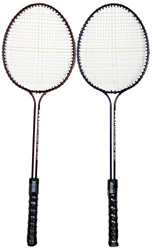 Starx Steel Double Shaft Badminton Racquet Set, Adult G4 3 3/4 Inch  Multicolor