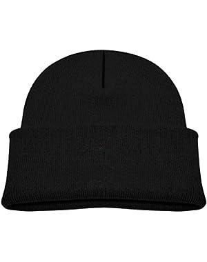 Kids Knitted Beanies Hat Halloween Black Bat Winter Hat Knitted Skull Cap for Boys Girls Blue