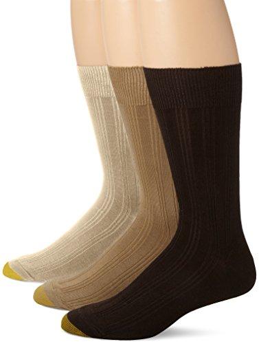 Gold Toe Men's Freshcare Dress Rib 3 Pack, Khaki/Camel/Black, Sock Size: 10-13/Shoe Size:9-11