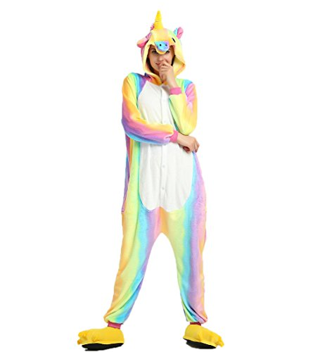 Keep It Clean Adult Costumes (Adults Kigurumi Rainbow Unciorn Onesie - Women Mens Animal Pajama Costumes Cosplay Outfit M)