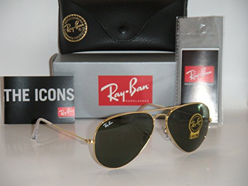 Grey Aviator 58mm Rb3025 Sunglasses 3025 ban crystal Ray Classic Gold l0205 Rb Green qUB0nHp