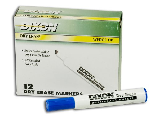 DIXON Dry Erase Markers, Wedge Tip, Blue, 12-Pack (92108)