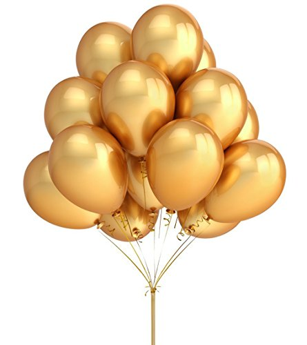 Avkkey Gold Latex Balloons 12 inch 2.8g Thicken Celebration balloon Wedding Party Birthday Decoration Balls Pack of 100 (Figuras De Globos Halloween)