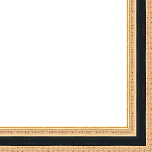 11x17 Classy Two-Tone Black on Solid Gold Wood Frame - Great for Posters, Photos, Art Prints, Mirror, Chalk Boards, Cork Boards and Marker Boards by FramingSPORTS