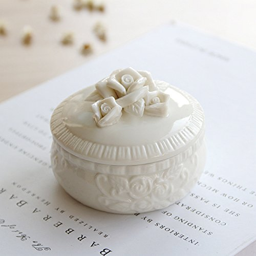 White Embossed Flower Jewelry Box Jewelry Holder Trinket Box Rings Necklace Organizer For Girls Women (Ballerina White Trinket Box)