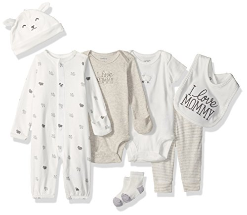 Carter's Baby 7-Piece Covertible Gown Set, White Lamb, 3 Months
