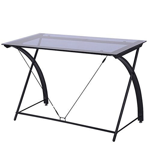 Tempered Glass Computer Desk Home Office Work Station Workstation Free Standing Living Room Furniture Writing Table Laptop Notebook PC Stand Sturdy And - City Place Dallas Shopping
