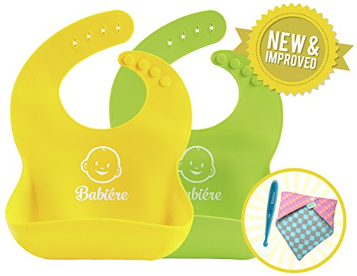 Silicone Baby Bibs – New Reinforced Buttonholes are Toddler Proof – Stay Open Crumb Catcher Catches All Spills – Make Mealtimes Less Messy – Bonus Spoon or Bandana – Set of 2 Green Yellow