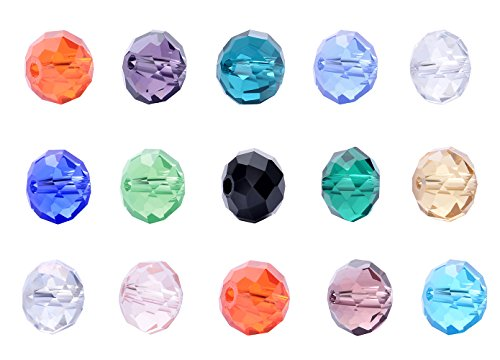 wanjin Wholesale Lot 300pcs Rondelle 10mm Crystal Beads 15 colors with storage box ()
