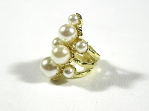 Magic Metal Bubble Cluster Cocktail Ring Size 5.5 Faux Pearls Gold Tone RB35 Mermaid Gem Fashion Jewelry