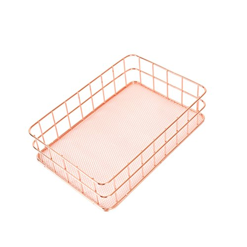 OUNONA Organizer Metal Wire Mesh Basket Rack for Desktop Clothing Storage/Fruit Snacks Tray/Kitchen Tool Holders (Rose Gold) by OUNONA