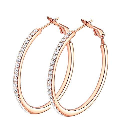 ZSIKAO Hoop Earrings, Stainless Steel Womens Cubic Zirconia Earrings, Rhinestone Girls Earrings