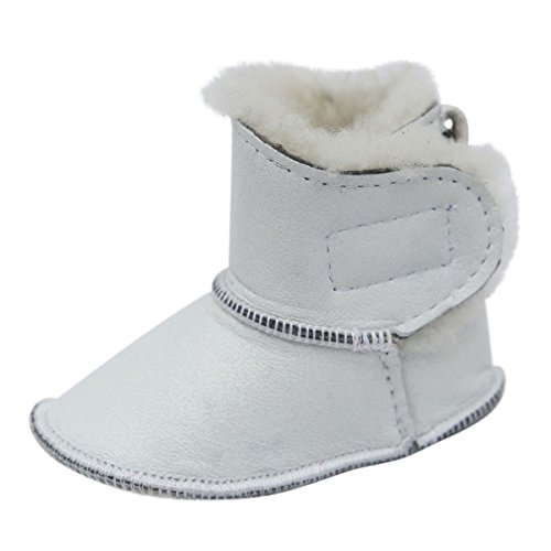 Hollert German Leather Fashion Baby Lammfellschuhe - mit Klettverschluss Kinder Hausschuhe Boots Merino Schaffell Weiß