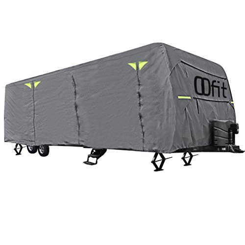 OOFIT Travel Trailer RV Cover Weather Resistant 4 – Ply Non-Woven Fabric Roof Cover Fits for 30' – 33' RVs Grey by OOFIT