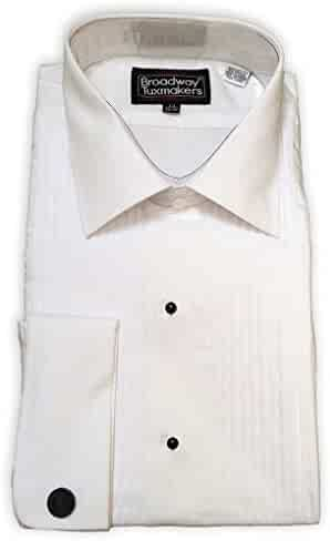 bcccd76c Broadway Tuxmakers Mens Slightly Irregular White Laydown Collar French Cuff Tuxedo  Shirt