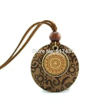 Pretty Lee New Design Wooden Pendant Necklace Mandala Necklace Henna Flower Jewelry Art Glass Necklace