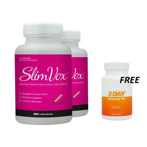 Slimvox 2 Pack and 1 Free 3 DSP - Diet Pills Designed for Women - Clinically Tested Ingredients - Boost Metabolism by SNC Labs by SNC Labs