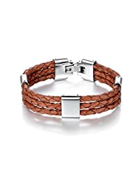 IshowStore Fashion Dark Brown Leather Wave Braided Chain Bracelet Bangle Wristband