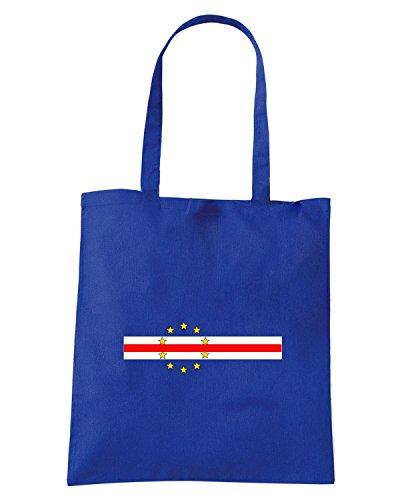 T-Shirtshock - Bolsa para la compra TM0172 Cabo Verde Bandeira flag Azul Real