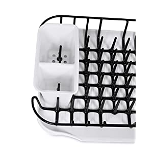 Internet's Best Dish Drying Rack with Drainer & Utensil Holder | Drainboard for Kitchen Counter | Remove Drainboard Use In Sink | White & Black | Plastic