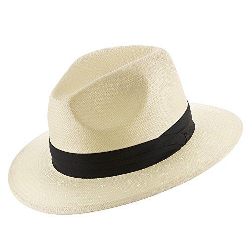 Ultrafino Monte Cristo Straw Fedora Panama Hat Ivory with Black Hatband 7 1/8