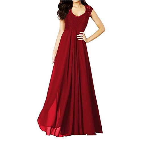 New Gorgeous Red Evening Dress - sekitoba-japan.inc Sleeveless Floral Lace Maxi Dress for Women Black and red