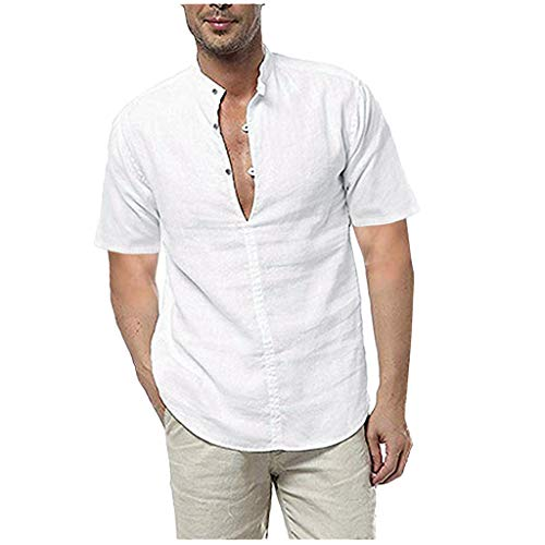 Men's Henley Shirts Short Sleeve Button V-Neck Soft Linen Hippie Shirts Summer Beach Tops by URIBAKE White