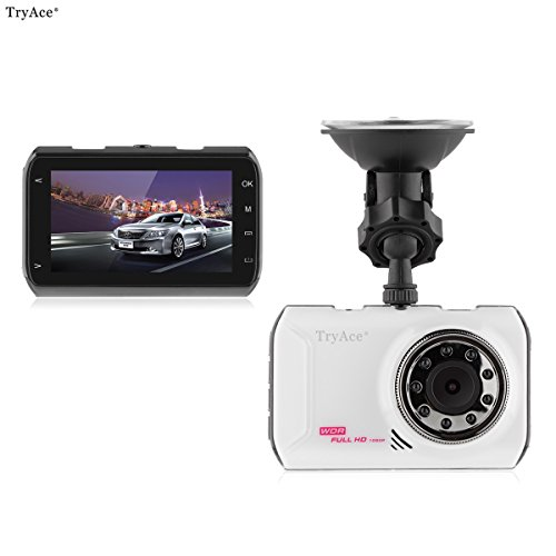 TryAce1080P Full HD Car DVR Screen Night Vision Touch Stop Monitoring Ultra Thin Driving Recorder Mini Video Camera 170° Super Wide Live HD Tachograph(FH05)