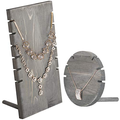 - MyGift Set of 2 Wood Plank & Disc Necklace Display Stands, Gray