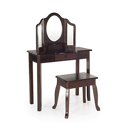 Heirlooms Dresser Mirror - Guidecraft Classic Espresso Vanity and Stool: Kids' Wooden Dress Up Table and Chair Set with 3 Mirrors and Make-Up Drawer Storage - Toddlers Room Furniture