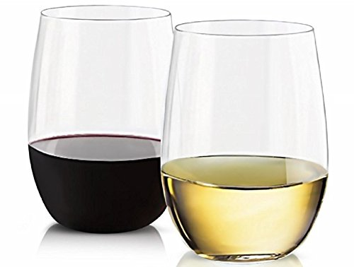 EcoDrinkware – Unbreakable Stemless Wine Glasses, BPA-Free Flexible Clear Ultra-Thin Lightweight Tritan, 16 Oz., Set of 4, Dishwasher Safe