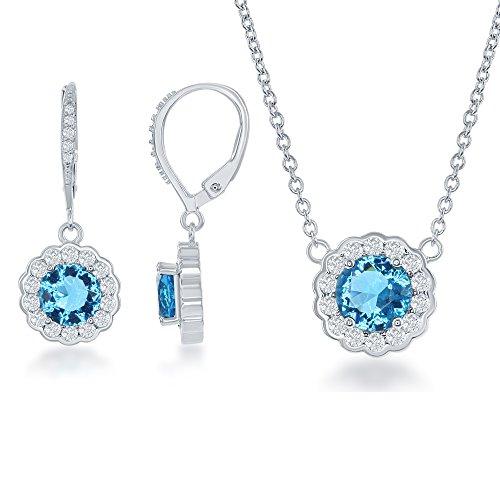 Beaux Bijoux Sterling Silver CZ Birthstone 16 2 Necklace Earrings Set
