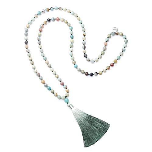 (OKIKO 108 Mala Beads Necklace Tassel Long Boho Statement for Women Yoga Meditation Gemstone Amazonite)