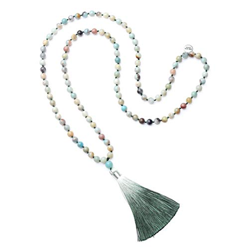 OKIKO 108 Mala Beads Necklace Tassel Long Boho Statement for Women Yoga Meditation Gemstone Amazonite Jewelry