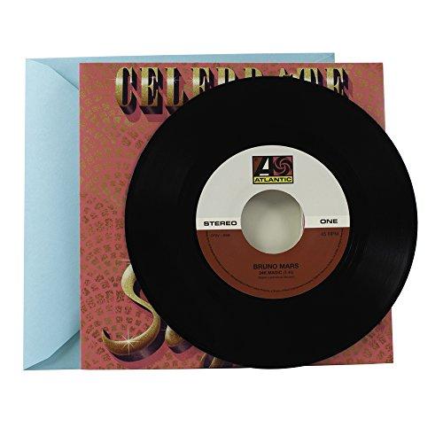 Hallmark Birthday Card with Bruno Mars Vinyl Record (Real 45 Record Plays 24K Magic and Treasure)