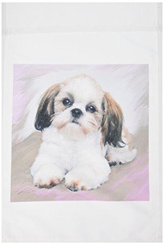 3dRose fl_4807_1 Shih Tzu Puppy Garden Flag, 12 by 18-Inch