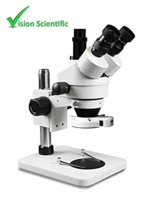 Vision Scientific VS-1F-IFR07 Trinocular Zoom Stereo Microscope, Paired 10x Widefield Eyepiece, 0.7x—4.5x Zoom Range, 7x—45x Magnification Range, Pillar Stand, Fluorescent Ring Light